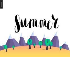 letras de verano en el paisaje de montaña vector