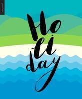 letras de vacaciones en el paisaje acuático vector
