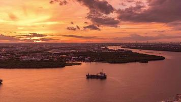 Sunset Over the Chao Phraya River at Samut Prakan, Thailand