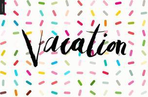 letras de vacaciones en patrón de chispas vector
