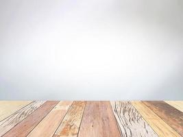 Wood table on gray background photo