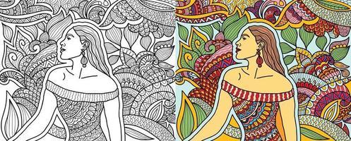 Doodle mujer posando estilo henna página de libro para colorear para adultos y niños. vector