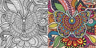 Doodle butterfly decorative henna style colouring book page for adults and children. vector