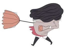 Windy brunette girl vector