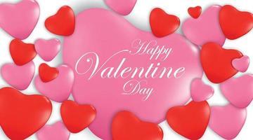 Feliz día de San Valentín banner de felicitación con formas de corazón 3d rojas y rosadas - ilustración vectorial