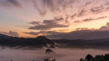 The morning fog on the eastern side of Phu Lanka, Phayao Province, Thailand.