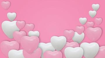 Globos de corazón blanco y rosa sobre fondo rosa. globos realistas y lugar para texto. ilustración vectorial