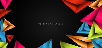 Abstract template colorful geometric triangles vibrant on black background with space for your text. Modern design. vector