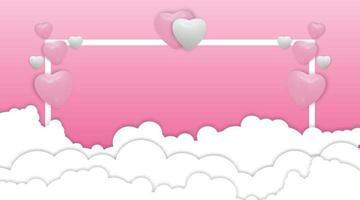 Globos de corazón blanco y rosa sobre fondo rosa. globos realistas y marco. ilustración vectorial para anuncio