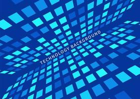 concepto de tecnología abstracta patrón de cuadrados azules fondo de perspectiva futurista. vector