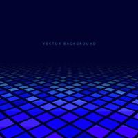 Abstract square perspective pattern on dark blue background. vector