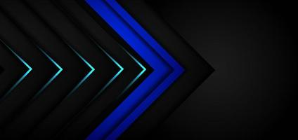 Abstract black arrow blue and black background with blue neon light. vector