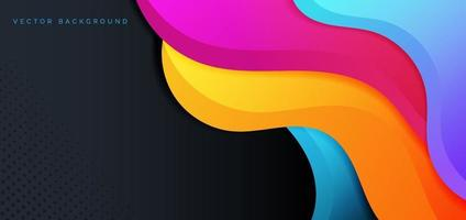 formas líquidas abstractas fluido geométrico de color amarillo rosa azul gradent sobre fondo oscuro con espacio para copiar texto. vector