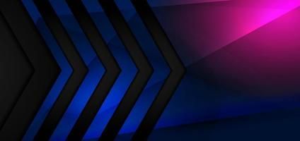 Abstract black arrow tech banner design with blue, pink glowing light. Technology concept. vector