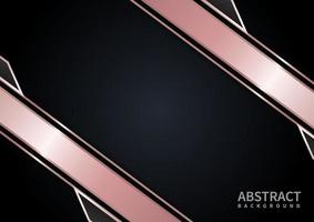 Abstract template pink gold geometric contrast black background. vector