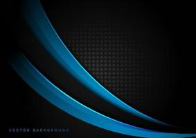 Abstract template blue light curve overlapping on halftone dark background. vector