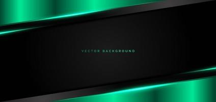 Abstract banner web green metallic overlap with green light modern technology style on black background. vector