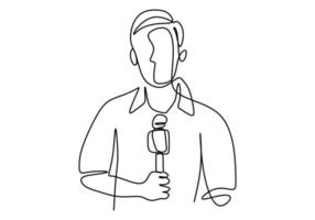 Continuous line drawing of a reporter was shooting in front of the camera and share the news to information. vector