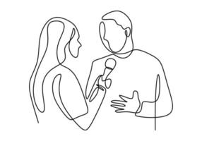Continuous one single line drawing of reporter female journalist. A professional women journalist interviewing a businessman.