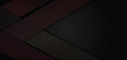 Abstract black triangle background with striped lines red, golden. vector