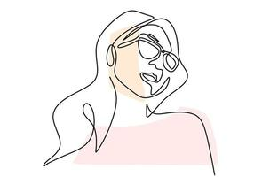 Continuous one line drawing of woman portrait classic style in sunglasses. vector