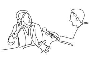un dibujo de línea continua de un hombre sosteniendo un micrófono en la mano y haciendo una pregunta a otro hombre vector