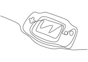 dibujo continuo de una línea del icono de la consola de juegos en estilo insignia. vector