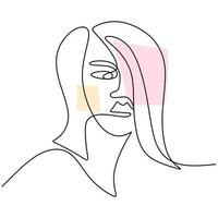 Abstract faces beautiful women. Modern fashion linear female face profile in minimal line style, aesthetic contour. vector