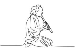 One continuous single line drawing of a man with Shakuhachi flute, traditional music of Japan. vector