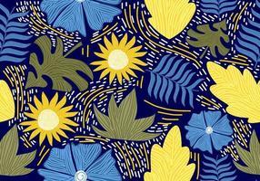 patrón vintage transparente con flores decorativas. vector