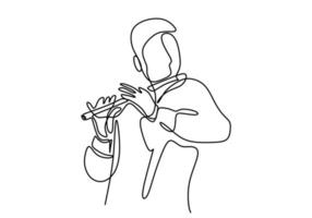 One continuous line drawing of a man playing the flute. The musician perform with bamboo flute isolated on white background. vector