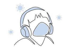 una línea continua de joven escuchando música con auriculares. macho en auricular en casa en caso de pandemia. música relajante para terapia de estrés. concepto de meditación de audio. ilustración vectorial vector
