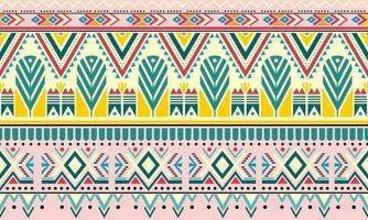 Striped vintage boho fashion style seamless pattern background with tribal shape elements. Handmade colored stripes bright tribal. Ideal for fabric design, paper print and web backdrop vector