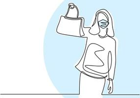 dibujo de línea continua de mujeres felices con máscara protectora en la cara con bolsa nueva. hermosa joven adolescente comprando una bolsa en nuevas condiciones normales. comprador de mujeres de carácter. ilustración vectorial vector