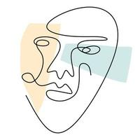 Abstract face one line drawing. Modern fashionable minimalist design concept isolated on white background. vector