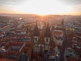 República Checa, Praga, 2020 - Vista aérea del casco antiguo de Praga.