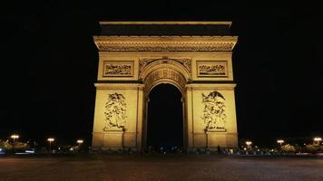 Paris, France, 2020 - Champs-Elysees arch at night
