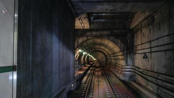 London, UK, 2020 - Rails in Metropolitan tube