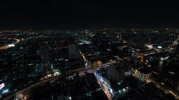 Bangkok, Thailand, 2020 - Aerial view of Bangkok at night photo