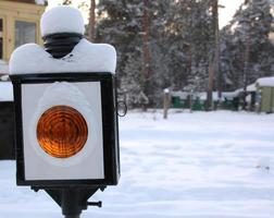 Traffic lights with snow photo