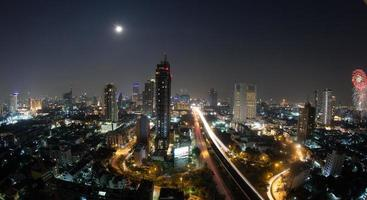 Bangkok, Thailand, 2020 - Panorama of Bangkok at night