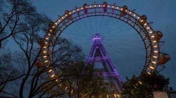 Vienna, Austria, 2020a - Giant Ferris wheel in the evening