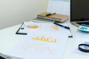 Graphs on an office desk