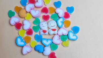 Cute colorful jelly heart shaped candies photo