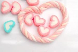 Pastel marshmallows in heart shape