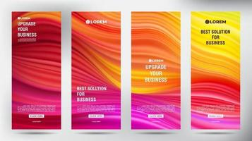 Mesh Color Flow roll up business brochure flyer banners set vector