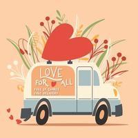Amo el vehículo camión con un corazón y un mensaje de amor. Ilustración colorida dibujada a mano con letras a mano para feliz día de San Valentín. tarjeta de felicitación. vector