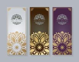 conjunto de tarjetas de felicitación de estilo mandala de lujo vector