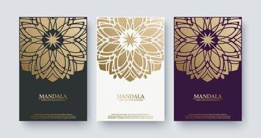 Luxury mandala style book cover set vector