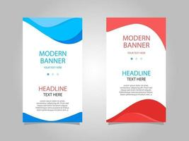 Abstract Blue and Red Vertical Banner Set vector